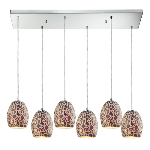Elk Lighting Elk Lighting Orbital Polished Chrome Multi-Light Pendant with Bowl / Dome Shade 10429/6RC