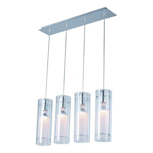 ET2 Lighting Modern Multi-Light Pendant Light with Clear Glass and 4-Lights E22001-10