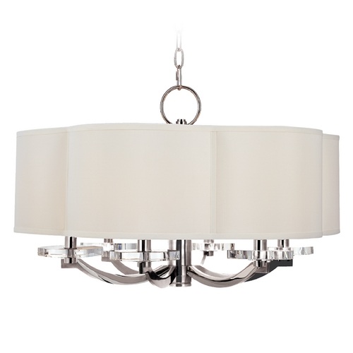 Hudson Valley Lighting Modern Drum Pendant Light with White Shade in Polished Nickel Finish 1426-PN
