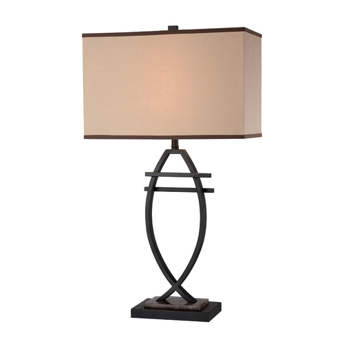 Lite Source Lighting Lite Source Lighting Fisch Bronze Table Lamp with Rectangle Shade LS-22055