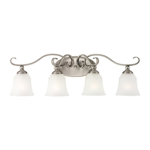 Sea Gull Lighting Bathroom Light with White Glass in Antique Brushed Nickel Finish 44382-965