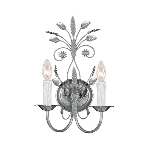 Crystorama Lighting Crystal Sconce Wall Light in Silver Leaf Finish 4702-SL