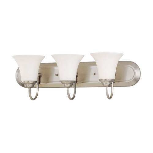 Nuvo Lighting Bathroom Light with White Glass in Brushed Nickel Finish 60/1834
