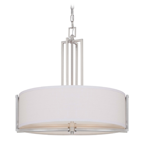 Nuvo Lighting Modern Drum Pendant Light with Grey Shade in Brushed Nickel Finish 60/4756