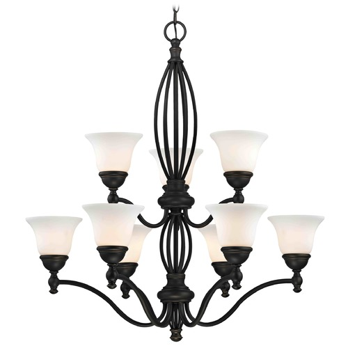 Design Classics Lighting Satin White Glass Traditional Chandelier - Bolivian Finish 2922-78 GL1032-WH