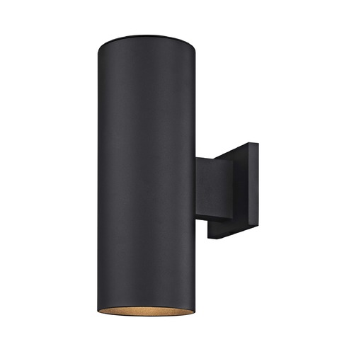Design Classics Lighting Cylinder Up / Down Outdoor Wall Light in Powder Coated Black Finish 5052 PCBK