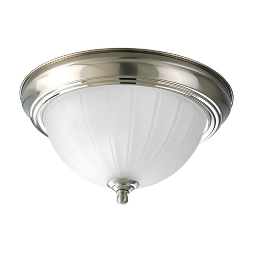 Progress Lighting Progress Flushmount Light with White Glass in Brushed Nickel Finish P3816-09