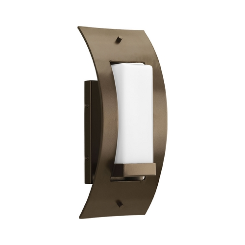 Progress Lighting Progress Modern Outdoor Wall Light with White Glass in Bronze Finish P6602-20