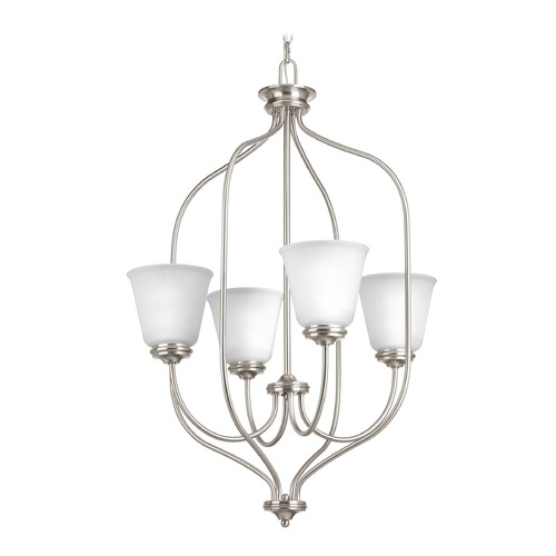 Progress Lighting Progress Lighting Keats Brushed Nickel Pendant Light with Bell Shade P3891-09