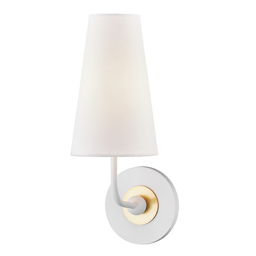 Mitzi by Hudson Valley Mitzi By Hudson Valley Mitzi Merri Aged Brass / Soft Off White Sconce H318101-AGB/WH