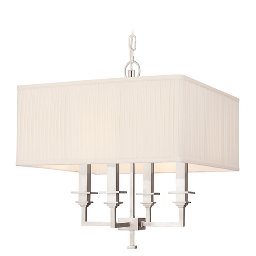 Hudson Valley Lighting Pendant Light with White Shades in Polished Nickel Finish 244-PN