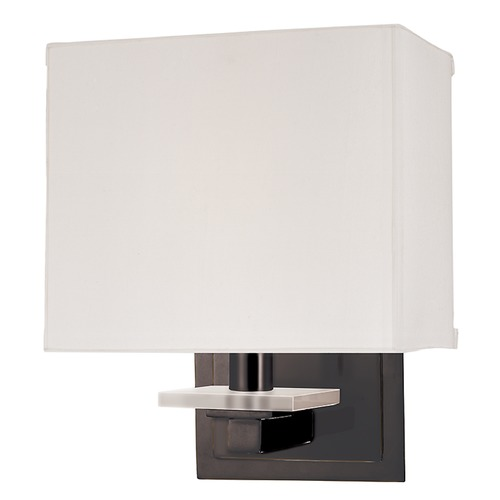 Hudson Valley Lighting Modern Sconce Wall Light with White Shade in Old Bronze Finish 391-OB
