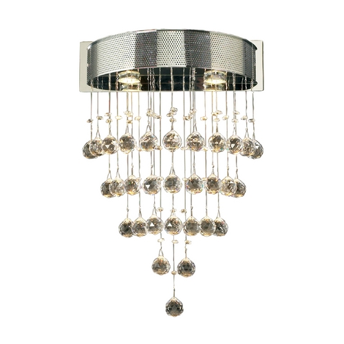 PLC Lighting Modern Sconce Wall Light with Clear Glass in Polished Chrome Finish 81730 PC