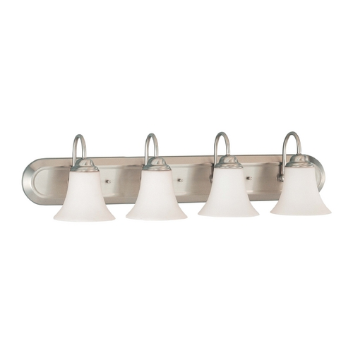 Nuvo Lighting Bathroom Light with White Glass in Brushed Nickel Finish 60/1835