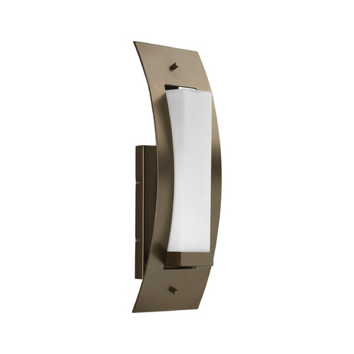 Progress Lighting Progress Modern Outdoor Wall Light with White Glass in Bronze Finish P6603-20