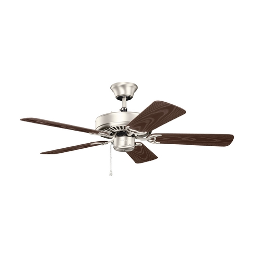Kichler Lighting Kichler Lighting Basics Revisited Brushed Nickel Ceiling Fan Without Light 414NI