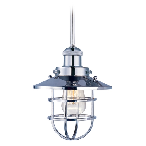 Maxim Lighting Maxim Lighting Mini Hi-Bay Polished Nickel Mini-Pendant Light with Coolie Shade 25050PN