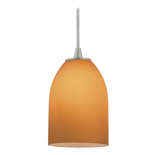 Access Lighting Access Lighting Bordeaux Brushed Steel LED Mini-Pendant Light with Bowl / Dome Shade 28018-4C-BS/AMB