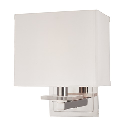 Hudson Valley Lighting Modern Sconce Wall Light with White Shade in Polished Nickel Finish 391-PN