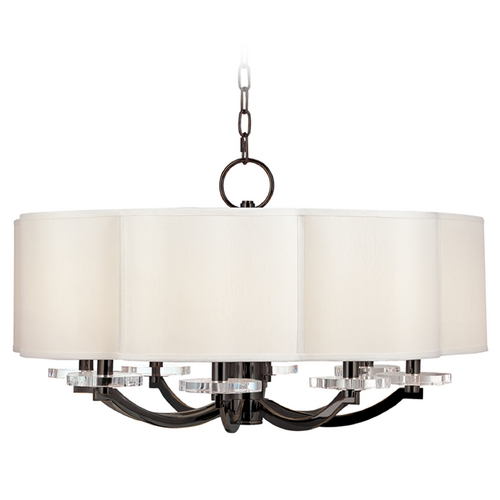 Hudson Valley Lighting Modern Chandelier with White Shade in Old Bronze Finish 1432-OB