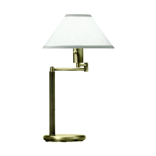 House of Troy Lighting Swing-Arm Lamp with White Shade in Antique Brass Finish D436-71