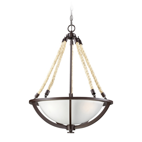 Elk Lighting Pendant Light with White Glass in Aged Bronze Finish 63013-3
