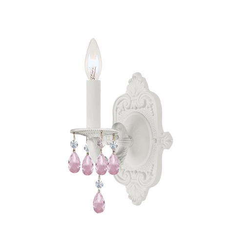 Crystorama Lighting Crystal Sconce Wall Light in Wet White Finish 5021-WW-RO-MWP