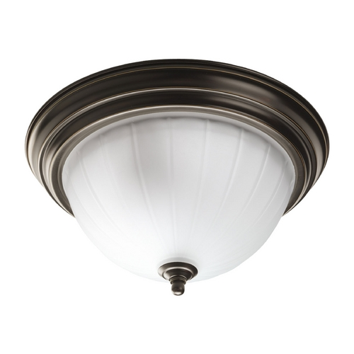 Progress Lighting Progress Flushmount Light with White Glass in Antique Bronze Finish P3817-20