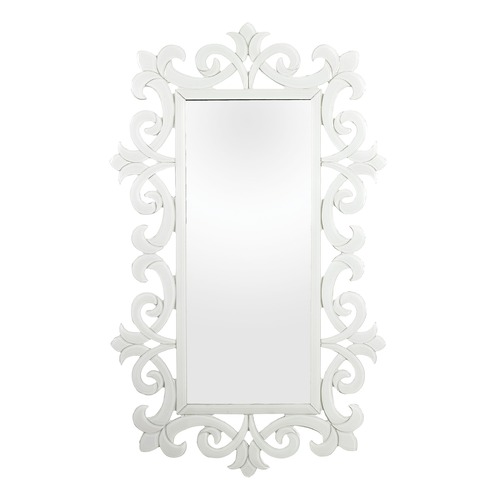Sterling Lighting White Glass Scroll Work Framed Mirror 114-85