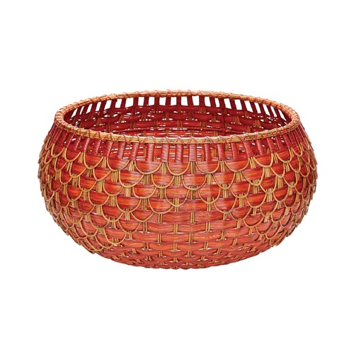 Dimond Lighting Large Fish Scale Basket In Red And Orange 466053
