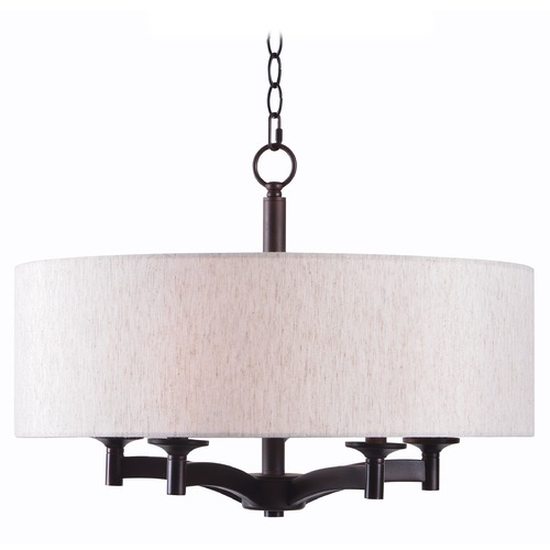 Kenroy Home Lighting Kenroy Home Rutherford Oil Rubbed Bronze Pendant Light with Drum Shade 93637ORB