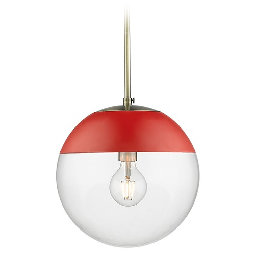 Golden Lighting Golden Lighting Dixon Aged Brass Pendant Light with Globe Shade and Red Accent 3219-LAB-RED
