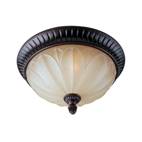 Maxim Lighting Flushmount Light with Beige / Cream Glass in Oil Rubbed Bronze Finish 13500WSOI