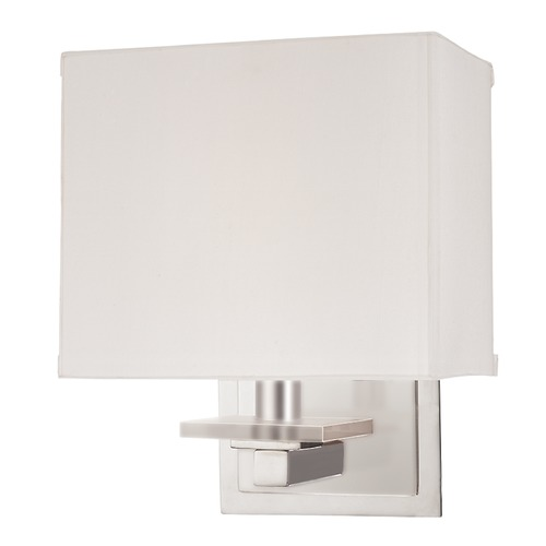 Hudson Valley Lighting Modern Sconce Wall Light with White Shade in Satin Nickel Finish 391-SN