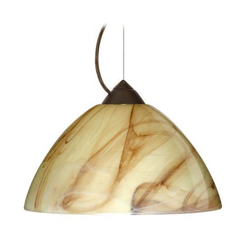Besa Lighting Modern Pendant Light with Brown Glass in Bronze Finish 1KX-420283-BR