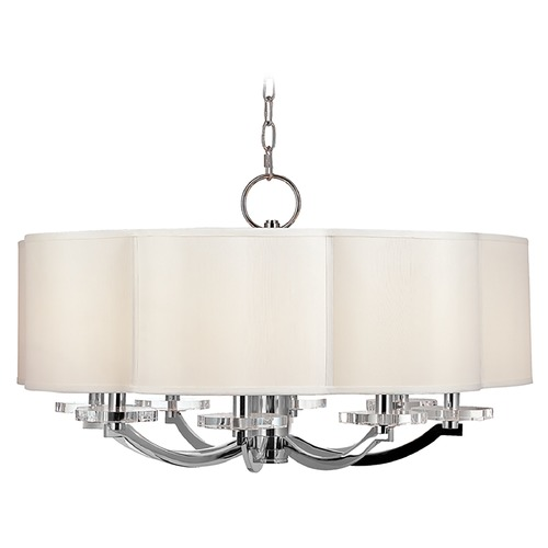 Hudson Valley Lighting Modern Chandelier with White Shade in Polished Nickel Finish 1432-PN