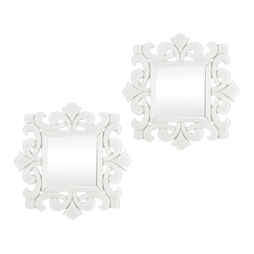 Sterling Lighting Set Of 2 Mini White Glass Scroll Work Framed Mirrors 114-86/S2