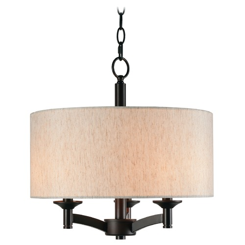 Kenroy Home Lighting Rutherford Oil Rubbed Bronze Pendant Light with Drum Shade by Kenroy Home 93638ORB