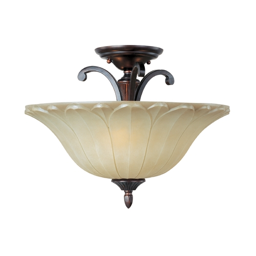 Maxim Lighting Semi-Flushmount Light with Beige / Cream Glass in Oil Rubbed Bronze Finish 13501WSOI
