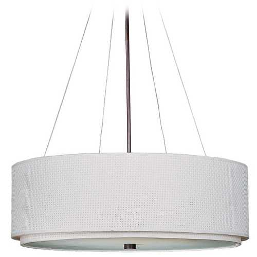 ET2 Lighting Modern Pendant Light with White Shades in Oil Rubbed Bronze Finish E95160-100OI