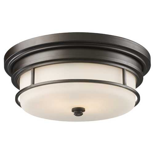 Elk Lighting Modern Flushmount Light with White Glass in Oiled Bronze Finish 66254-2