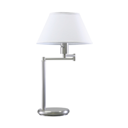House of Troy Lighting Swing-Arm Lamp with White Shade in Satin Nickel Finish D436-52