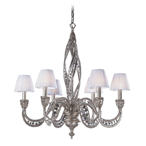 Elk Lighting Modern Chandelier with Beige / Cream Shades in Sunset Silver Finish 6236/6
