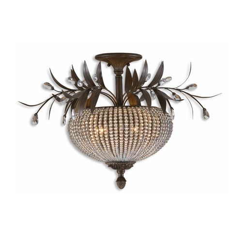 Uttermost Lighting Semi-Flushmount Light with Clear Glass in Golden Bronze Finish 22221