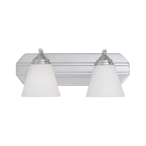 Designers Fountain Lighting Bathroom Light with White Glass in Satin Platinum Finish 6602-SP