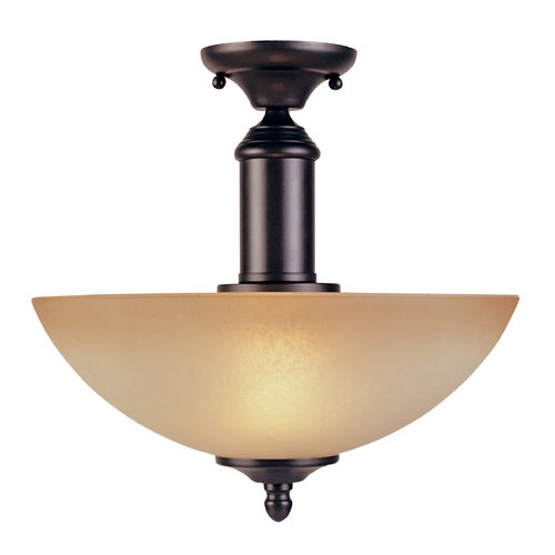 Designers Fountain Lighting Semi-Flushmount Light with Amber Glass in Oil Rubbed Bronze Finish 94011-ORB