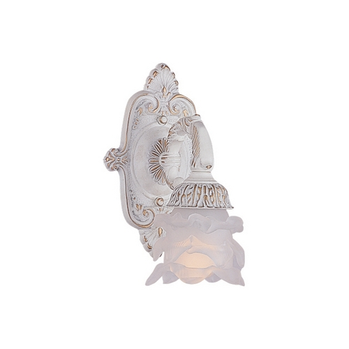 Crystorama Lighting Sconce Wall Light with White Glass in Antique White Finish 5221-AW