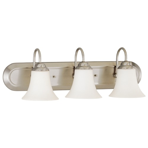 Nuvo Lighting Bathroom Light with White Glass in Brushed Nickel Finish 60/1914