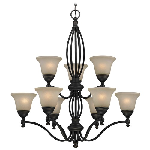 Design Classics Lighting Carmelized Glass Traditional Chandelier - Bolivian Finish 2922-78 GL1032-CAR