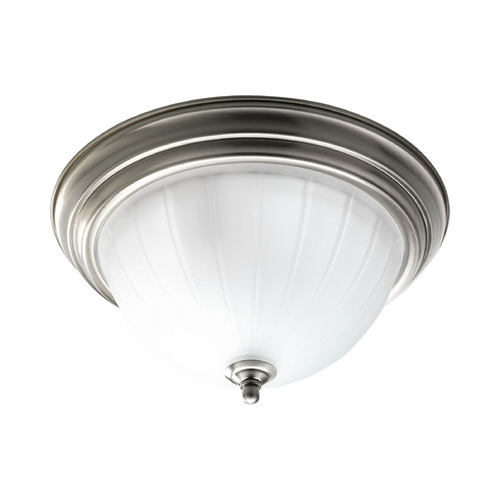 Progress Lighting Progress Flushmount Light with White Glass in Brushed Nickel Finish P3817-09